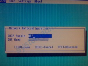 DHCP Enable en OFF